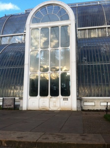 Kew Gardens London UK . Storms and glasshouses.