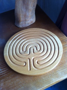 A wooden finger labyrinth in the Silent Room. An alternative to a walk outside in the cold!