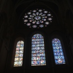 Rose window with typical blue stained glass of Chartres.