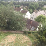 The view from our hotel window over a deserted labyrinth and the town of Chartres below the hill.