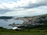 Horta, view of town and port with other port Porto Pim on far edge of photo