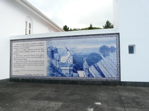 Tiles in memory of the victims of the Capelinhos volcanic eruption.